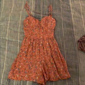 Coral Abercrombie and Fitch bustier romper